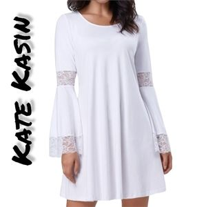 NWT Kate Kasin White Loose Bell Sleeve Lace A Line Dress
